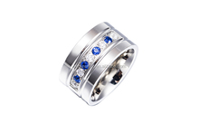 SR0703009 Vogue Stainless Steel Silver CZ Engagement Rings Jewelry with Two Tone Stone