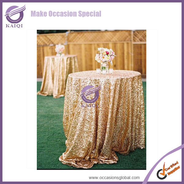 #1880 gold wholesale wedding sequin restaurant table cloth