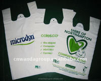 100% biodegradable HDPE t-shirt bags vest carrier bags