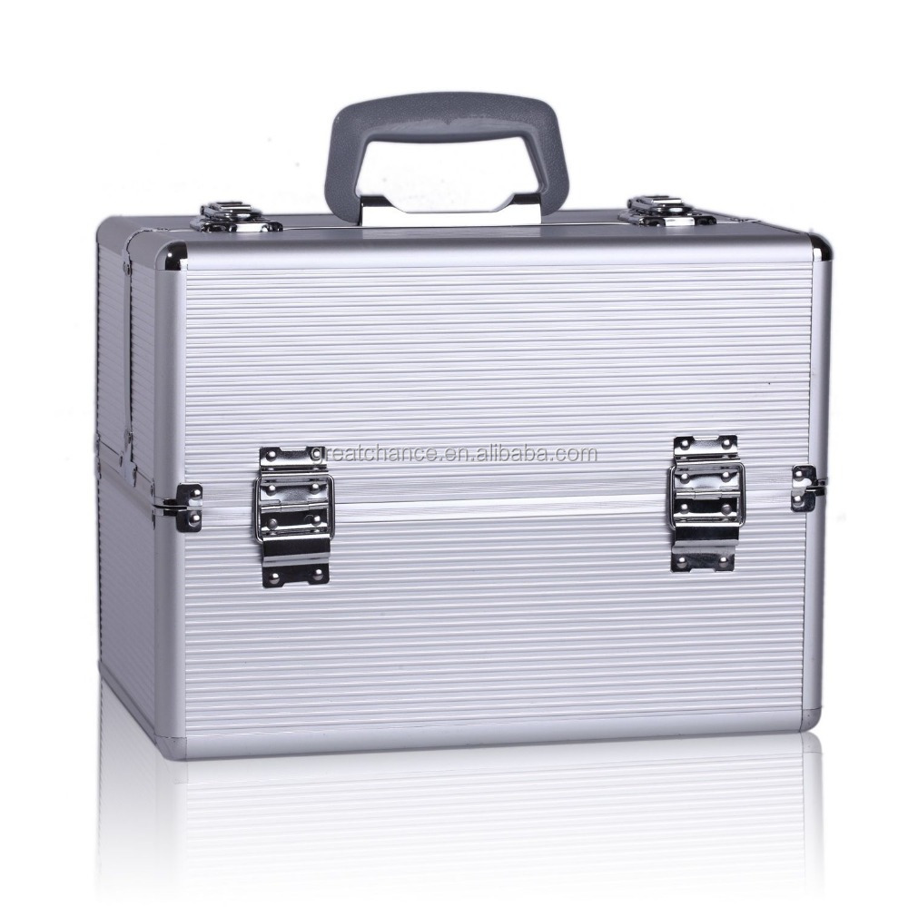 Silver Large Aluminum Beauty Case Cosmetic Makeup Hair Vanity Salon Carry Case 2