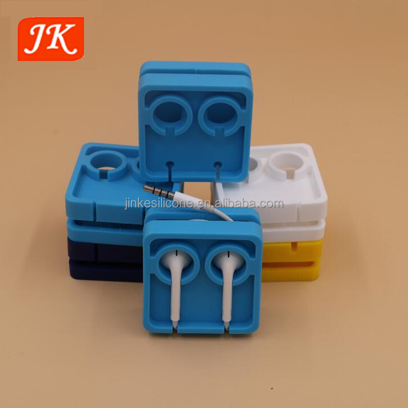 OEM new design fashion silicone rubber earphone case wire cable core watch winder