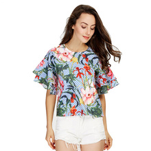women sweet ruffles loose floral shirts short sleeve o neck blouse European style flower print tops blusas