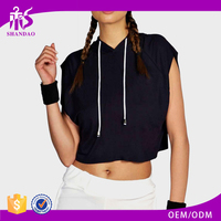 2016 guangzhou shandao new arrival fashion summer custom plain dyed sleeveless pullover jersey crop hoodies with hood