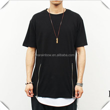 Double Zipper Fashion men Long T Shirt hip hop casual urban clothing, enlongated long IN t shirts for Men's streetwear Clothing