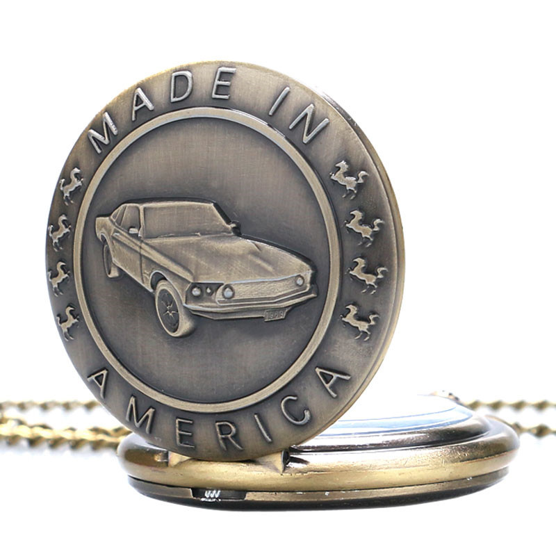 Antique Car Pocket Watch Classic Mustang Sedan Made In America Carving Pendant Chain Cool Men Clock Best Gifts for Boys Children (4)