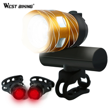 WEST BIKING Bicycle Front Light 1200LM Zoom Waterproof T6 LED Front USB Rechargeable Mountain Bicycle Head Light Set