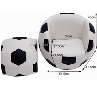 Black and white kids ball shape sofa with footrest fire resistant leather kids sofa