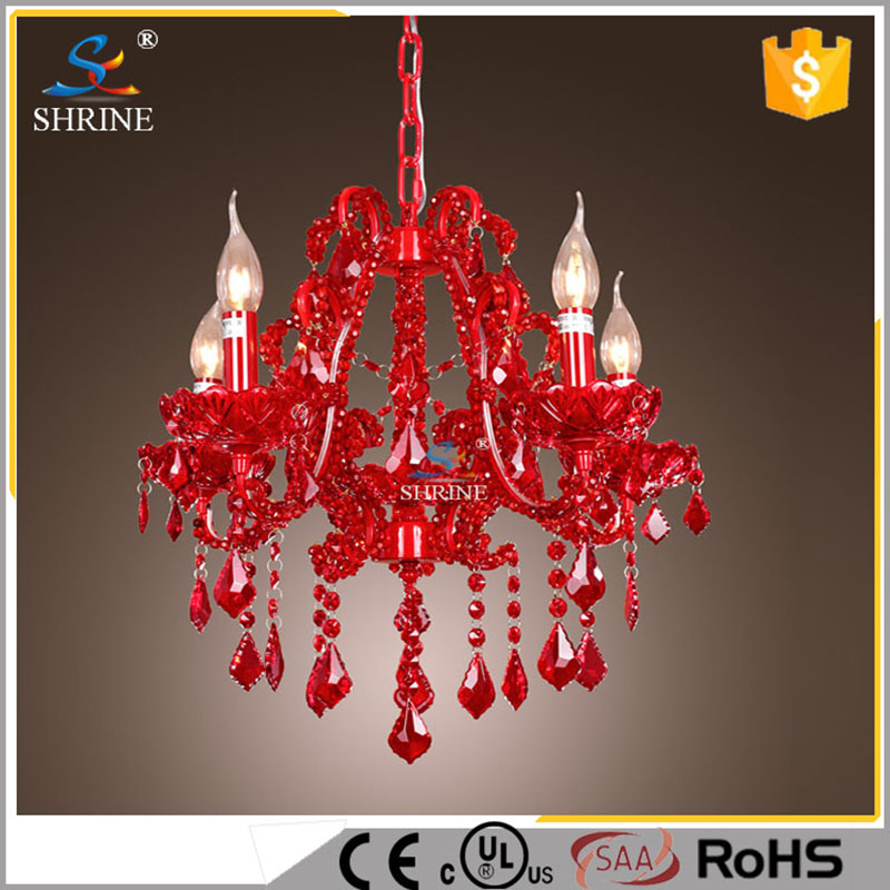 European Style Crystal Lighting Lamps Red Steel Candle Chandelier With Red Crystal Bead For Wedding Model:SC5921-4L