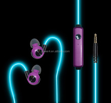 LED colorful sport glowing ear hook earphone for smartphone