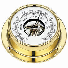 "4.5"" Wall Type Round Mechanical Barometer with Polished Brass Case"
