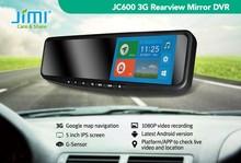 JIMI 3g wifi andriod 4.4 rearview mirror bluetooth gps tracker wireless parking camera system