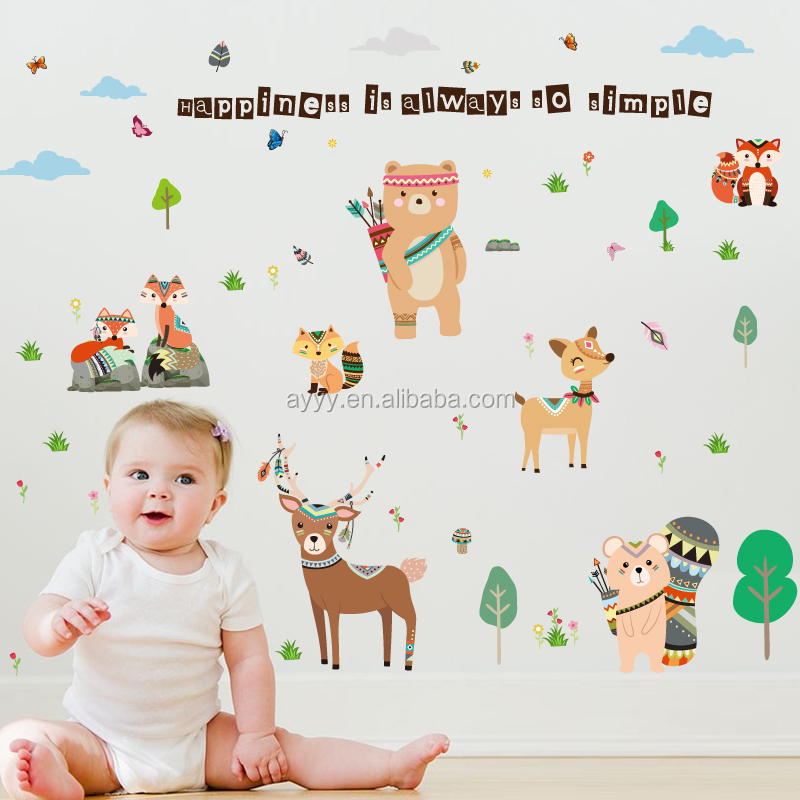 SK9205 hot-sale animal design in America DIY home decorative removable wall sticker window wall decal