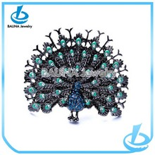 Vintage China wholesale blue peacock ring tail peacock shape finger jewelry