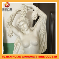 woman carry baby gathering grapes marble stone sculpture for garden deco