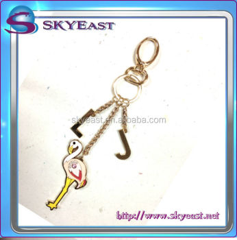 Hot Sale Cute Animal Shape Shiny Epoxy Pendant Metal Keychain with Hook
