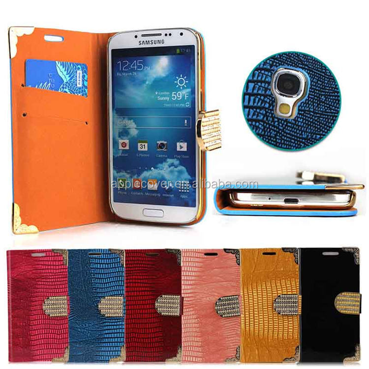 Fashion bling diamond style crocodile wallet case for samsung s4 i9500 with card slots , cell phone cover case for samsung s4