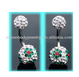 Christmas Gifts Bling Jewelry Shamballa Inspired Changing Color Crystal Ball Navel Belly Ring