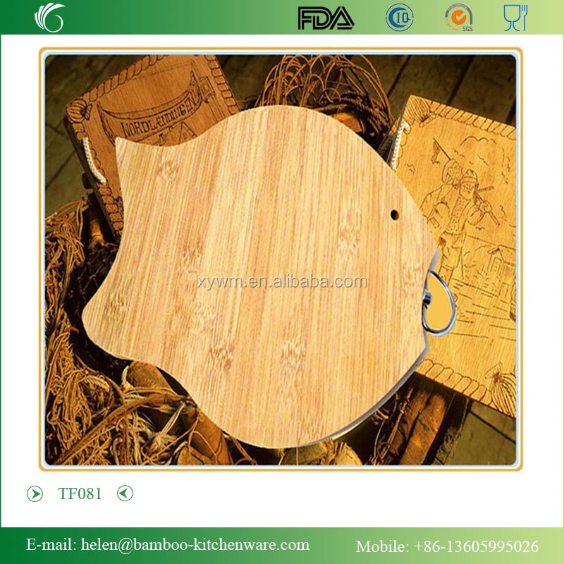 TF081 Fish shape bamboo yoga board customized hotel kithen utensil chopping board equipment
