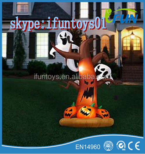 Inflatable Ghost Tree Lighted Halloween /Halloween Tree Inflatable Light-Up Lawn / Lighting Inflatable Ghost Tree with pumkin