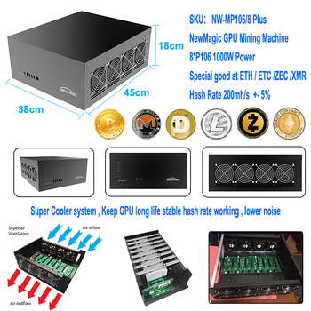 Newmagic ETH ETC Zcash Mining Machine With 8pcs Nvidia Geforce P106-100 GPU