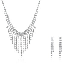 Newest design fashion silver color classic wedding gift necklace earring set party wear gowns for ladies crystal bridal jewelry