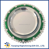 High quality blank souvenir two colors green gold award keepsake round metal award plaque