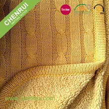 Decorative king size chunky cable oversized knit plush throw blanket