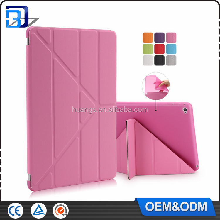 New Fashion Book Folding Leather Stand Magnetic Smart Case For iPad Air 2 Translucent Frosted TPU Back Cover