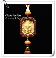 2016 Best Selling China Style Buddha Theme Wood Carved Crafts of Car Hanging Pendant