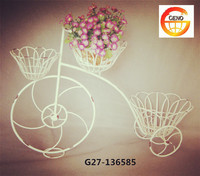 White bike flower basket for indoor decoration