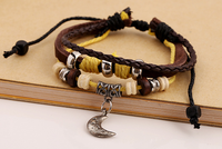 moon charm beads hot sale factory price diy genuin leather bracelets