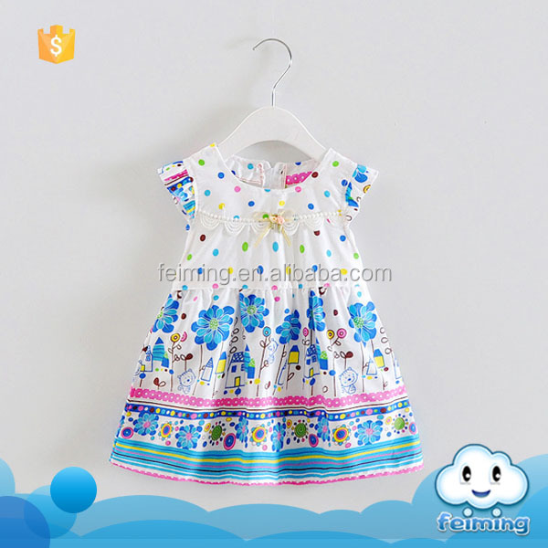 Wholesale factory price new brand name cotton baby clothes 2016 children latest fashion designs flower summer baby dress modern