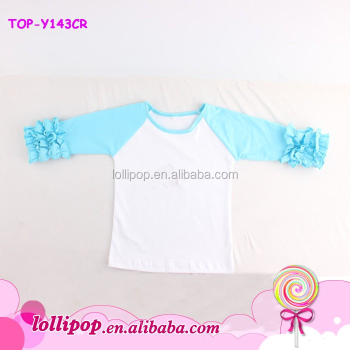 Spring 2016 kids cotton icing three ruffle Aqua sleeves blank tee tshirts 3/4 sleeves baby tops baseball icing raglan shirt