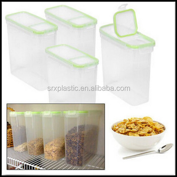 Kitchen Cereal Airtight Clear Food Storage with lids Plastic Containers Flip Top containers manufacturer wholesale