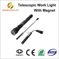 Portable 3 led Telescoping Magnet led Flashlight with Pick-up Tool, Flexible Telescopic led Flashlight with Magnetic Base Light
