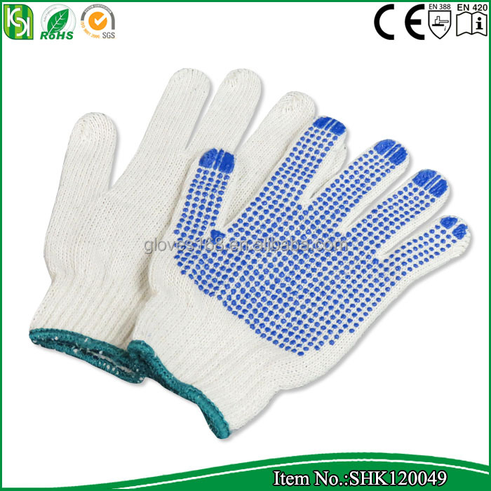 CE approved PVC dotted cotton knitted gloves / cotton work gloves with rubber grip dots
