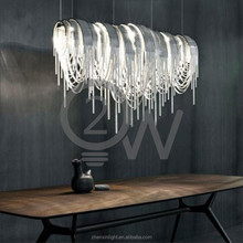 new products Led Modern silver aluminum chain project hotel Pendant Light for hotel