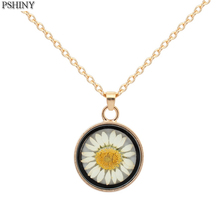 New retro creative dried flower necklace long chain simple daisy pendant glass sweater necklace jewelry women
