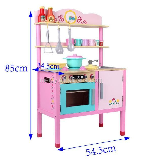 2017 New children pretend play kitchen wooden toy Funny kitchen toy set