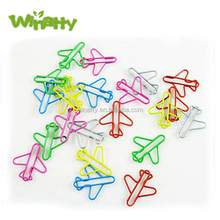 Jet Airplane PET Coated Paper Clips With Tin of 30 Colored Airplane Shaped Paper Clip