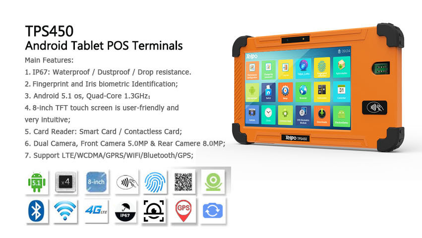 Telpo TPS450 Waterproof Fingerprint Attendance Retail Tablet with 8 Inch TFT Color Screen
