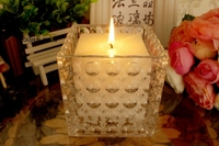 Crystal Square votive candle holder for wedding table decor