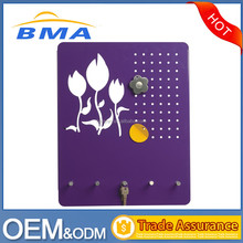 Stainless Steel Magnetic Memo Board With Key Rack