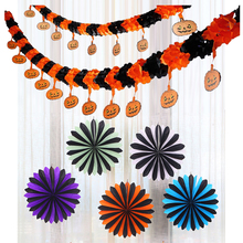 Hanging garland fan halloween party paper decoration