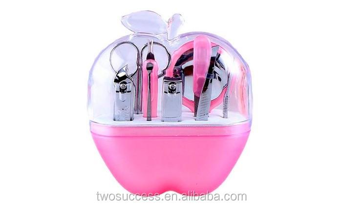 Wholesale Creative Gifts 9pcs Plastic Apple Manicure Tool Sets