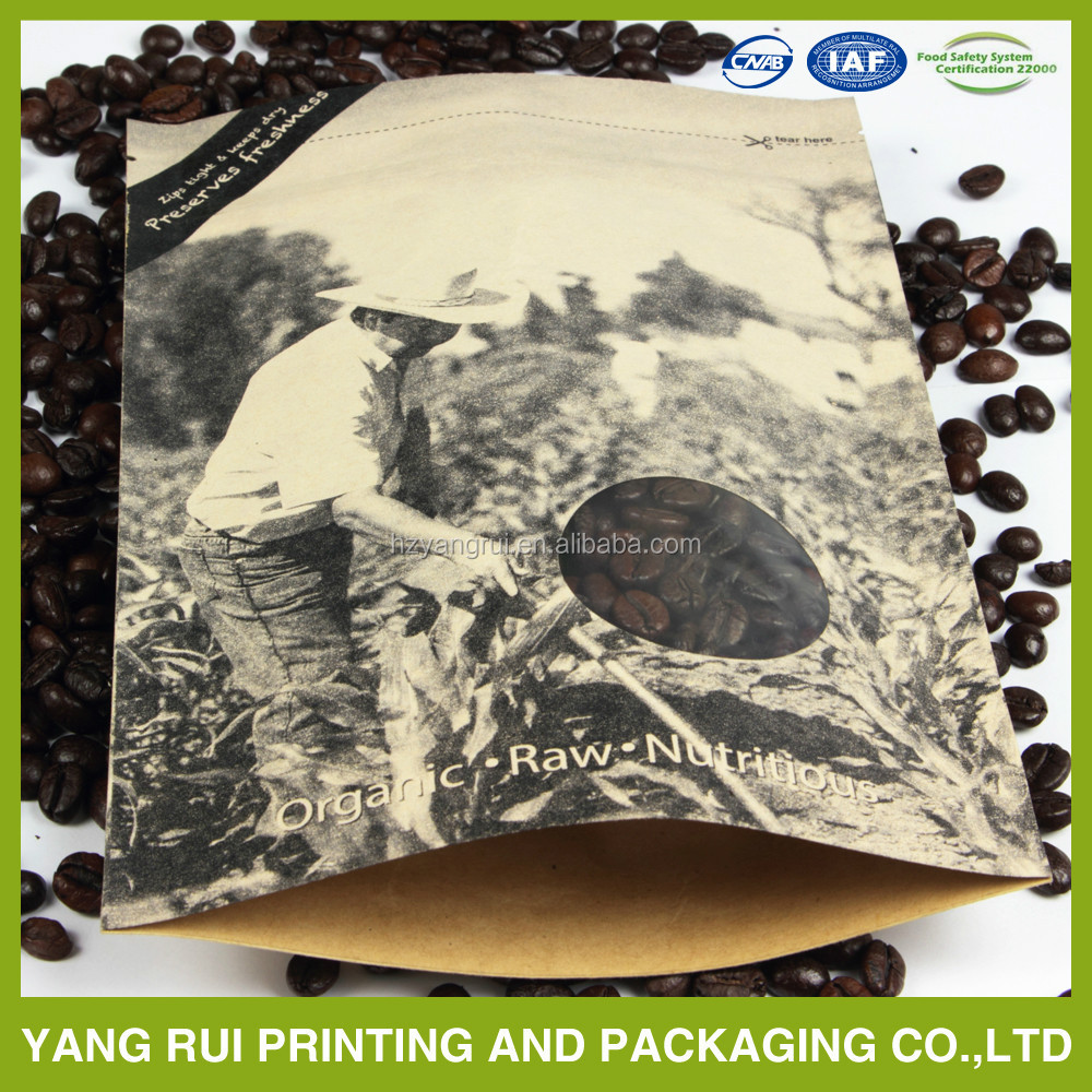 Kraft Paper Aluminum Foil Coffee Bean Packaging pouch/plastic bag