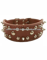 Deluxe Real Leather spike dog collar