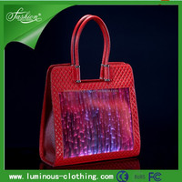 Lighting up genuine leather lady hand tote bag YQ-33