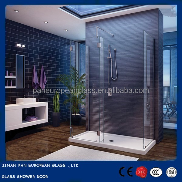 Frosted/clear tempered glass shower doors/wall panel with CCC, ISO, CE Certificate