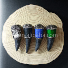 WT-NP168 Wholesale Natural black buffalo horn pendant with genuine leather decorative